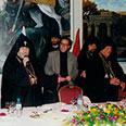 HH Catholicos Karekin II, with TB Patriarchs Mesrob II & Torkom II, in Bethlehem