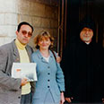 Alison Hilliard, BBC Religion, with HG Bishop Aris Shirvanian, in Jerusalem